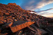 Sunrise over the Boulder Field below Longs Peak, Rocky Mountain National Park, Colorado.