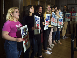 May 3, 2019 - Ames, Iowa, U.S - Iowa State University students wait for Sen. Elizabeth Warren to arrive for a campaign appearance at Iowa State University in Ames. Sen. Warren is campaigning in Iowa Friday and Saturday to promote her bid to be the Democratic candidate for the US Presidency. Iowa traditionally hosts the the first selection event of the presidential election cycle. The Iowa Caucuses will be on Feb. 3, 2020. (Credit Image: © Jack Kurtz/ZUMA Wire)
