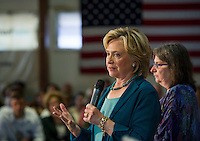 Hillary Clinton speaks to the crowd during the Community Forum on substance abuse held at the Laconia Boys and Girls Club on Thursday afternoon.  (Karen Bobotas/for the Laconia Daily Sun)