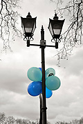 Putney, London, Balloons decorate the lamp post on Putney Hard. 156th University Boat Race  over  the Championship Course,  Putney to Mortlake. on Saturday  03/04/2010 [Mandatory Credit Peter Spurrier/ Intersport Images]