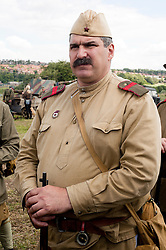 """A Re-enactor portrays a Soviet soldier from the Russian 13th Guards Rifle Division """"Poltavaskaya"""" during the """"Spam 1940s Wartime Weekend"""" at the Ponderosa in Heckmondwike <br /> 9th July 2011.<br /> Images © Paul David Drabble"""