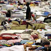 SHREVEPORT, LA - September 2, 2005:  Evacuees from Hurricane Katrina take shelter inside a sports complex in Shreveport, LA on Sept. 2, 2005. (Photo by Todd Bigelow/Aurora)