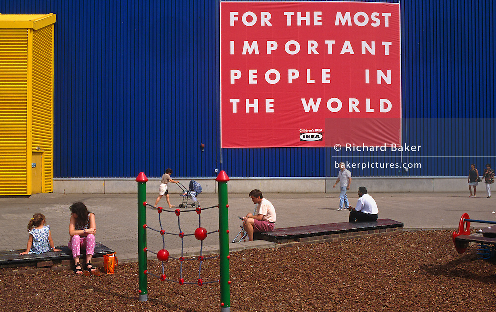 Beneath a huge banner that hangs from the exterior wall of the Ikea store in Croydon, South London adults await their partners to emerge from their shopping expeditions by the childrens' playground where a climbing frame and wood-chip surface protects young bodies from injury. The poster's message is simple and clear: That their customers and especially children, are our most important assets - our responsibility to protect their safety and well-being. Strong corporate Ikea colours are dominant, their well-known yellow and blue are known throughout Europe as well as the added banner in red. The fonts are in block capitals and possibly easy for young readers too to understand.
