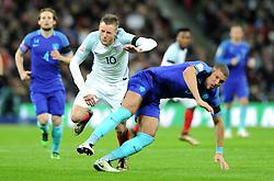 Jamie Vardy of England is fouled by Jeffery Bruma of the Netherlands  - Mandatory by-line: Dougie Allward/JMP - 29/03/2016 - FOOTBALL - Wembley Stadium - London, United Kingdom - England v Netherlands - International Friendly