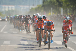 September 12, 2017 - Yunzhu, China - The peloton of riders during the second stage Jinzhong A to B race of the 2017 Tour of China 1, the 197km from Dazhai to Yunzhu. .On Tuesday, 12 September 2017, in Yunzhu, Xiyang County, Shanxi Province, China. (Credit Image: © Artur Widak/NurPhoto via ZUMA Press)