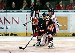 09.04.2010, TUI Arena, Hannover, GER, DEL, Hannover Scorpions vs ERC Ingolstadt, Play Off, im Bild Andre Reiss (Hannover#96) im Zweikampf mit Matt Hussey (Ingolstadt#27) EXPA Pictures © 2010, PhotoCredit: EXPA/ nph/  Schrader / SPORTIDA PHOTO AGENCY