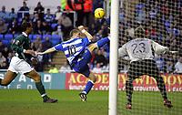 Fotball<br /> England 2004/2005<br /> Foto: SBI/Digitalsport<br /> NORWAY ONLY<br /> <br /> Reading V Plymouth Argyle<br /> The Coca_Cola Championship.<br /> Madejski Stadium<br /> 05/02/2005<br /> <br /> Reading's Nicky Forster tris for goal.