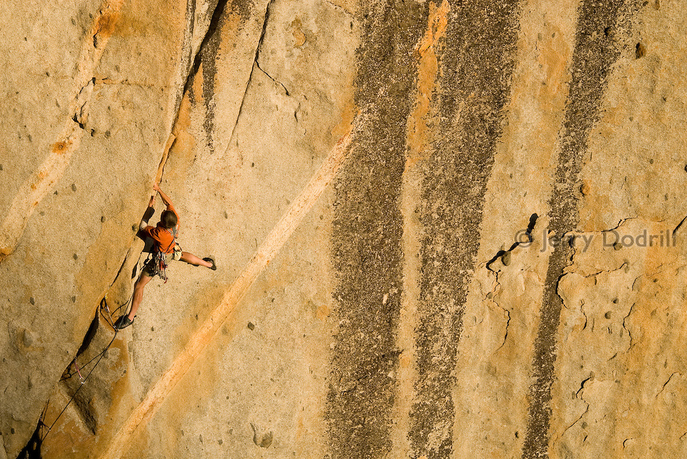 "Tom Addison climbing ""Hung Frankenstein"" (5.12b) at the Frankensteins cliff near Pinecrest Lake in the Sierra Nevada, Sonora Pass, California"