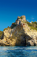 Sea Cave in the the cliffs of Paleokastritsa Corfu, Greek Ionian Islands .<br /> <br /> If you prefer to buy from our ALAMY PHOTO LIBRARY  Collection visit : https://www.alamy.com/portfolio/paul-williams-funkystock/corfugreece.html <br /> <br /> Visit our GREECE PHOTO COLLECTIONS for more photos to download or buy as wall art prints https://funkystock.photoshelter.com/gallery-collection/Pictures-Images-of-Greece-Photos-of-Greek-Historic-Landmark-Sites/C0000w6e8OkknEb8