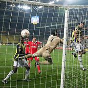Fenerbahce's Egemen Korkmaz (2ndR) scores during their UEFA Europa League Semi Final first match Fenerbahce between Benfica at Sukru Saracaoglu stadium in Istanbul Turkey on Thursday 25 April 2013. Photo by Aykut AKICI/TURKPIX