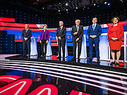 "14 JANUARY 2020 - DES MOINES, IOWA: TOM STEYER, left, Senator ELIZABETH WARREN, former Vice President JOE BIDEN, Senator BERNIE SANDERS, former Mayor PETE BUTTIGIEG, and Senator AMY KLOBUCHAR on stage during the ""photo spray"" at the CNN Democratic Presidential Debate on the campus of Drake University in Des Moines. This is the last debate before the Iowa Caucuses on Feb. 3.    PHOTO BY JACK KURTZ"