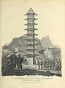 A sketch of the Chinese Wall, Military Post and guard, watch tower and Pagoda Copperplate engraving From the Encyclopaedia Londinensis or, Universal dictionary of arts, sciences, and literature; Volume IV;  Edited by Wilkes, John. Published in London in 1810