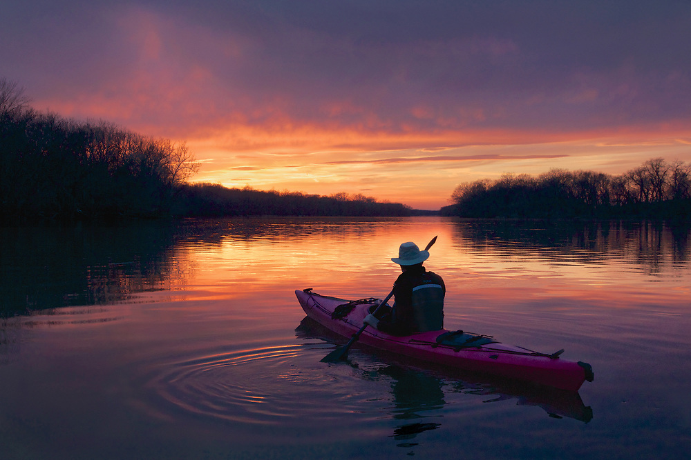 Paddling the Potomac River at Sunset
