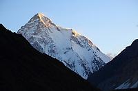 K2 at sunrise, seen from Concordia camp on the Baltoro Glacier, Pakistan.