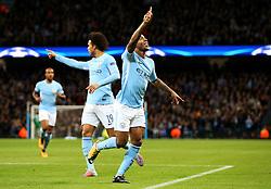 Raheem Sterling of Manchester City celebrates after scoring his sides first goal - Mandatory by-line: Matt McNulty/JMP - 17/10/2017 - FOOTBALL - Etihad Stadium - Manchester, England - Manchester City v Napoli - UEFA Champions League Group F