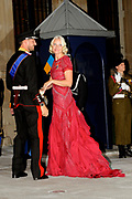 Gala dinner on the occasion of the civil wedding of Grand Duke Guillaume and Princess Stephanie at the Grand-Ducal palace in Luxembourg <br /> <br /> On the photo: Princess Mette Marit and Prince Haakon