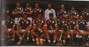Galway-All-Ireland Hurling Champions 1988. Back Row: Brendan Lynskey, Pete Finnerty, Michael Coleman, Anthony Cunningham, John Commins, Tony Keady, Martin Naugthon, Pat Malone. Front Row: Michael McGrath, Joe Cooney, Conor Hayes (capt), Sylvie Linnane, Gerry McInerney, Olly Kilkenny, Eanna Ryan.