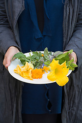 Plate of edible flowers including squash, borage and marigold