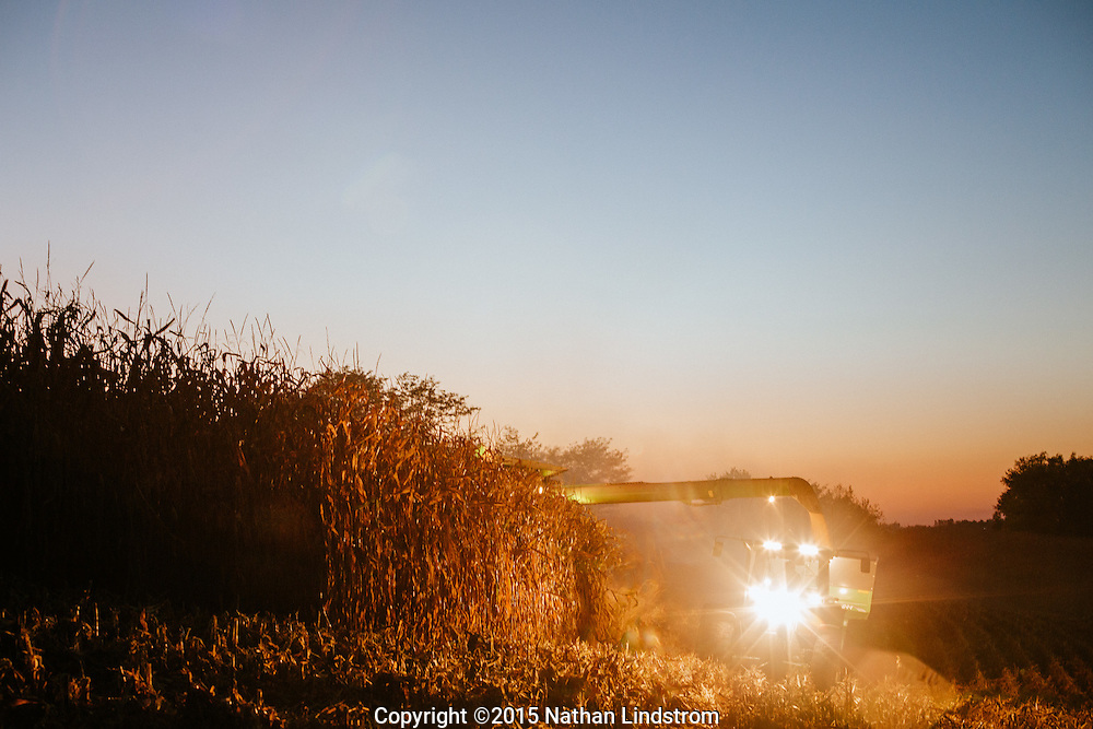 Harvesting fields of corn.<br /> Farms in Johnson and Iowa County, Iowa.<br /> Photographed by editorial lifestyle Houston photographer Nathan Lindstrom