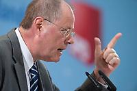 """14 SEP 2010, BERLIN/GERMANY:<br /> Peer Steinbrueck, SPD Bundesminister a.D., haelt eimne Rede, SPD Veranstaltung """"Die Finanztransaktionssteuer: Ursachen der Krise bekaempfen - Verursacher an den Kosten beteiligen"""", Willy-Brandt-Haus<br /> IMAGE: 20100914-01-150<br /> KEYWORDS: Konferenz, Finanzmarkt, Peer Steinbrück"""