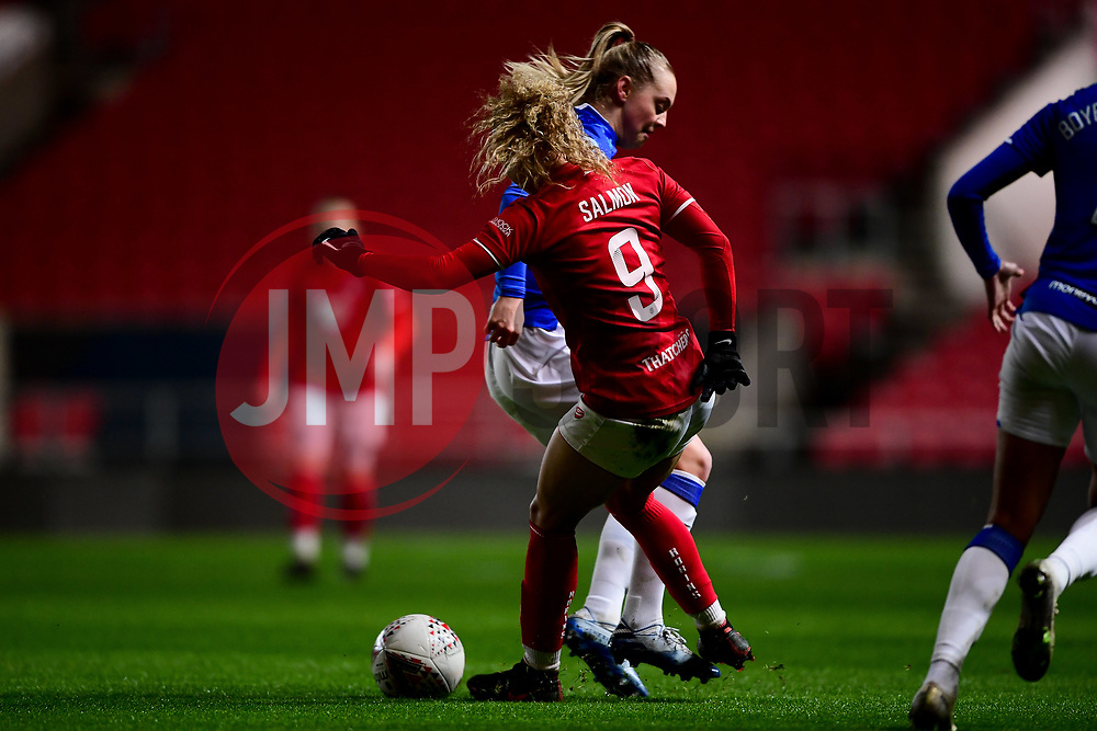 Ebony Salmon of Bristol City is challenged by Lucy Graham of Everton Women - Mandatory by-line: Ryan Hiscott/JMP - 17/02/2020 - FOOTBALL - Ashton Gate Stadium - Bristol, England - Bristol City Women v Everton Women - Women's FA Cup fifth round