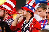 July 18 2009: A USA fan blows a horn during the game between USA and Panama. The United States defeated Panama 2-1 in added extra time in a CONCACAF Gold Cup quarter-final match at Lincoln Financial Field in Philadelphia, Pennsylvania.