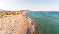 Aerial view of Platja del Grau during the morning, Girona, Spain.