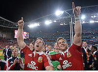 6 July 2013; Sean O'Brien, left, and Dan Lydiate, British & Irish Lions, following their side's victory. British & Irish Lions Tour 2013, 3rd Test, Australia v British & Irish Lions. ANZ Stadium, Sydney Olympic Park, Sydney, Australia. Picture credit: Stephen McCarthy / SPORTSFILE