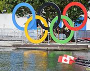 "Rio de Janeiro. BRAZIL.   2016 Olympic Rowing Regatta. Lagoa Stadium, Canadian Blades Olympic Rings, <br /> Copacabana,  ""Olympic Summer Games""<br /> Rodrigo de Freitas Lagoon, Lagoa.   Thursday  11/08/2016 <br /> <br /> [Mandatory Credit; Peter SPURRIER/Intersport Images]"