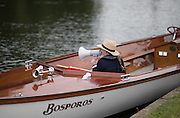 Henley on Thames, United Kingdom. 2016 Henley Masters' Regatta. Henley Reach. England. on Saturday  09/07/2016   [Mandatory Credit/ Peter SPURRIER/Intersport Images]<br /> <br /> Umpire, calls instruction to a crew, at the marshalling area Rowing, Henley Reach, Henley Masters' Regatta.