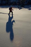 Russell Laman (age 12) cross-country skiing below the Teton Range.<br />Grand Teton National Park, Wyoming