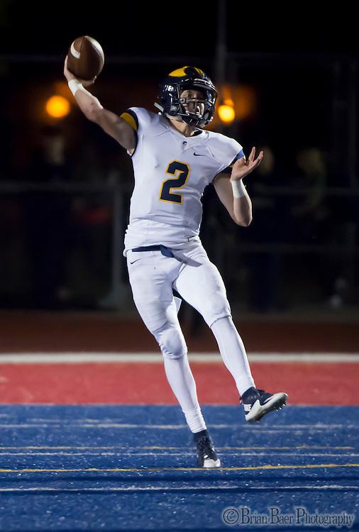 Oak Ridge Trojans Marco Baldacchino (2), passes the ball during the third quarter as the Folsom High School Bulldogs varsity football team host the Oak Ridge High School Trojans,  Friday Nov 4, 2016.<br /> photo by Brian Baer