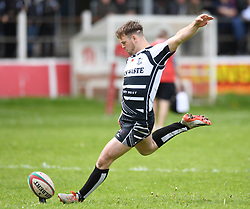Pontypridd's Jordan Rees<br /> Cross Keys v Pontypridd RFC<br /> <br /> Photographer Mike Jones / Replay Images<br /> Pandy Park, Cross Keys.<br /> Wales - 12th May 2018.<br /> <br /> Cross Keys v Pontypridd RFC<br /> Principality Premiership<br /> <br /> World Copyright © Replay Images . All rights reserved. info@replayimages.co.uk - http://replayimages.co.uk
