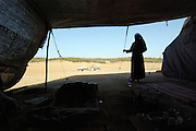 Israel, Negev Desert, Bedouin man in his tent