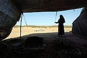 Israel, Negev Desert, Bedouin man in his tent