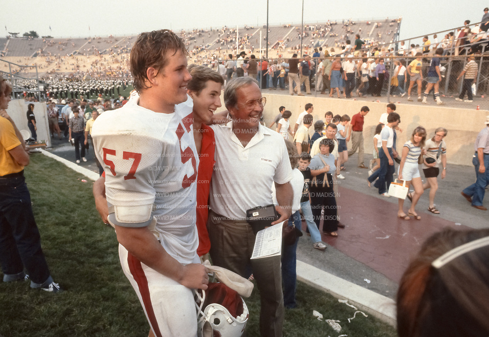COLLEGE FOOTBALL:  Mike Teeuws #57 of Stanford poses for photographs prior to an NCAA football game against Purdue University on September 12, 1981 in Ross-Ade Stadium in West Lafayette, Indiana.   Photograph by David Madison ( www.davidmadison.com ).