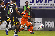 Luton Town player Kazenga LuaLua crosses the ball into the box during the second half during the EFL Sky Bet League 1 match between Luton Town and AFC Wimbledon at Kenilworth Road, Luton, England on 23 April 2019.