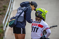 #911 (SHRIEVER Bethany) GBR and GBR Coach Chanaze Reade at Round 3 of the 2020 UCI BMX Supercross World Cup in Bathurst, Australia.