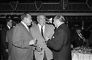 13/05/1962<br /> 05/13/1962<br /> 13 May 1962<br /> Variety Club Convention Cocktail Party at the Shelbourne Hotel, Dublin. Pictured are (l-r): Michael L. felt, tent 13, Philadelphia; Ben Goffstein, President Riviera Hotel, Las Vegas, delegate to the convention and A.L. Klein, Managig Director, Max Factor, London, Assistant Chief Barker, Tent 36.