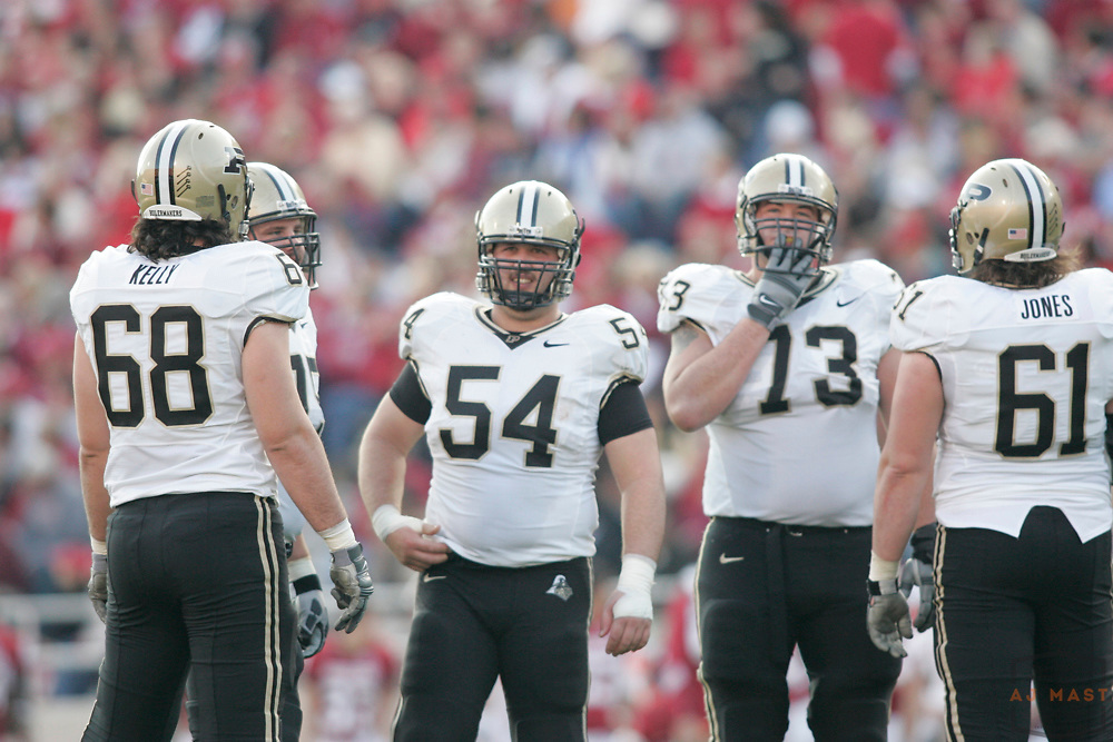 21 November 2009: The Purdue Offensive line as the Indiana Hoosiers played the Purdue Boilermakers in a college football game in Bloomington, Ind.