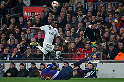 February 6, 2019 - Barcelona, Spain - Vinicius Junior and Gerard Pique during the match between FC Barcelona and Real Madrid corresponding to the first leg of the 1/2 final of the spanish cup, played at the Camp Nou Stadium, on 06th February 2019, in Barcelona, Spain. (Credit Image: © Joan Valls/NurPhoto via ZUMA Press)