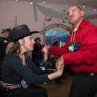 """Kynya Olson, left, and Wilbert Wauneka, right, share a dance at """"Night to Shine,"""" Friday, Feb. 8, at New Life Christian Assembly Church in Pinedale. """"Night to Shine"""" is a prom for local teens and adults with special needs sponsored by the Tim Tebow Foundation."""