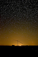 Starnight with water well,  in Hortobagy National Park, Hungary