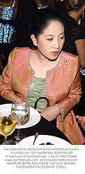The DOWAGER VISCOUNTESS ROTHERMEREat a party in London on 12th September 2002.PDE 369