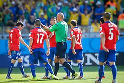 Jogadores do Chile na partida entre Brasil x Chile, válida pelas oitavas de final da Copa do Mundo 2014, no Estádio Mineirão, em Belo Horizonte. FOTO: Jefferson Bernardes/ Agência Preview