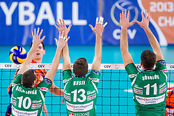Dore Della Lunga, Andrea Rossi and Tsvetan Sokolov of Cuneo during volleyball match between ACH Volley Ljubljana and Bre Banca Lannutti Cuneo (ITA) in Playoff 12 game of CEV Champions League 2012/13 on January 15, 2013 in Arena Stozice, Ljubljana, Slovenia. (Photo By Vid Ponikvar / Sportida.com)