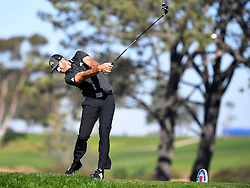 January 26, 2017 - San Diego, Calif, USA - Dustin Johnson tees off on the 5th hole during the first day of the Farmers Insurance Open golf tournament at Torrey Pines in San Diego, Calif. on Thursday, January 26, 2017. (Photo by Kevin Sullivan, Orange County Register/SCNG) (Credit Image: © Kevin Sullivan/The Orange County Register via ZUMA Wire)