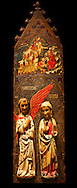 Gothic painted Panel of the Announcement to the Shepherds and Annunciation by anonymous artist from Navarra. Tempera and varnished metal leaf on wood and applied carving. Circa 1335-1350. 90.8 x 171.2 x 5.8 cm. From the parish church of Arteta (Navarra).. National Museum of Catalan Art, inv no: 004368-000 .<br /> <br /> If you prefer you can also buy from our ALAMY PHOTO LIBRARY  Collection visit : https://www.alamy.com/portfolio/paul-williams-funkystock/gothic-art-antiquities.html  Type -     MANAC    - into the LOWER SEARCH WITHIN GALLERY box. Refine search by adding background colour, place, museum etc<br /> <br /> Visit our MEDIEVAL GOTHIC ART PHOTO COLLECTIONS for more   photos  to download or buy as prints https://funkystock.photoshelter.com/gallery-collection/Medieval-Gothic-Art-Antiquities-Historic-Sites-Pictures-Images-of/C0000gZ8POl_DCqE