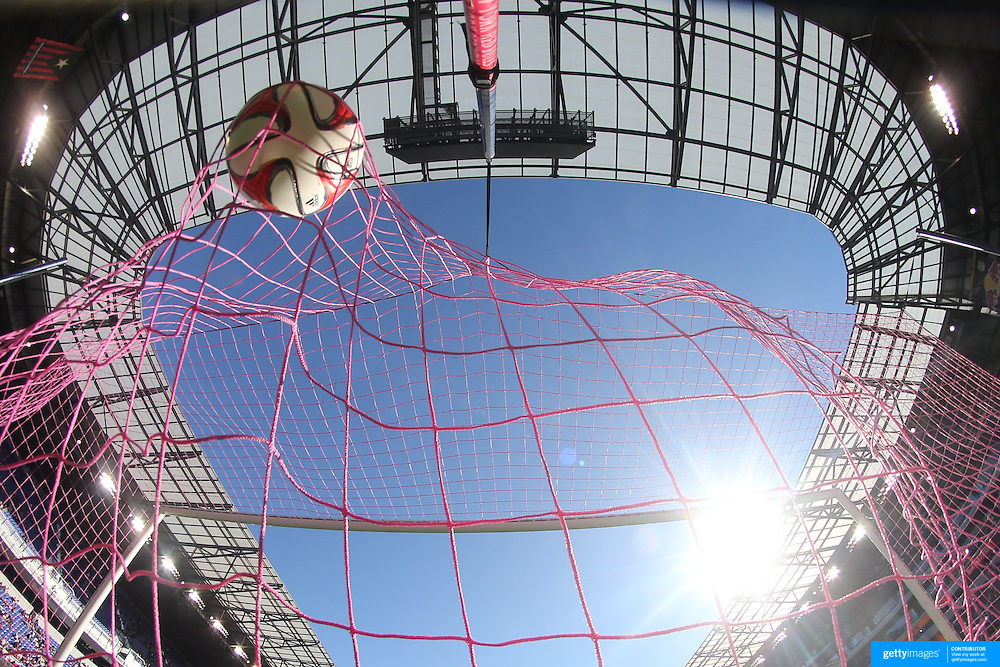 A generic image of a professional soccer goal mouth showing the netting and goal with the ball hitting the back of the net. Photo Tim Clayton