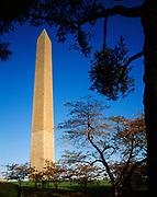 Washington Monument, 555-foot tall marble and granite obelisk commemorating George Washington, National Mall, Washington, District of Columbia.